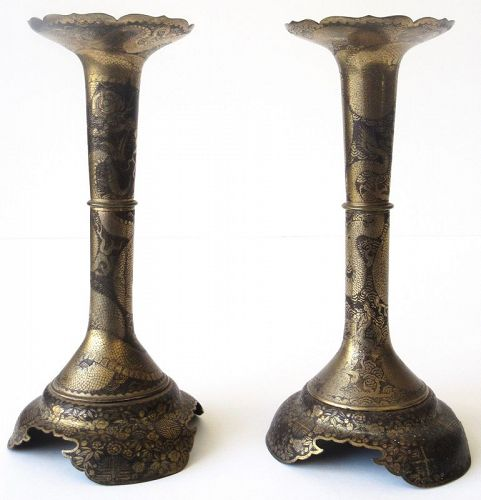 Japanese Pair of Damascene Dragon Candlesticks Signed Kuma