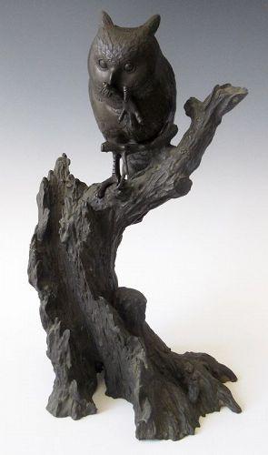Antique Japanese Bronze Okimono Owl on Branch