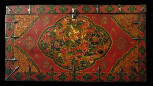 Antique Tibetan Painted Dragon Trunk