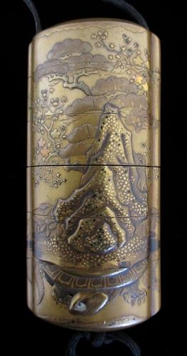 Japanese Antique Gold Lacquer Inro with Cranes and Turtle