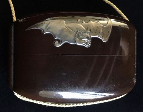 Japanese Antique Lacquer Inro with Bat
