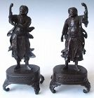 Antique Japanese Pair of Bronze Nio Temple Guardians