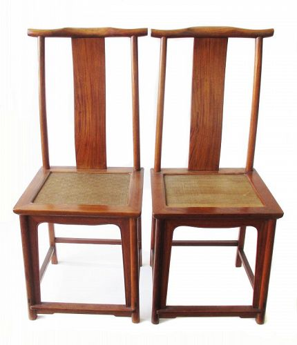 Chinese Pair of 17th Century Huanghuali Official's Hat Arm Chairs