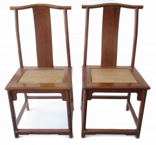 Chinese Pair Of Huanghuali Officialu0027s Hat Chairs With Rattan Seats