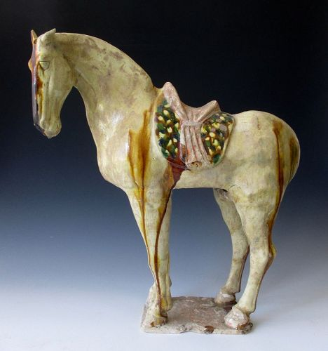 Rare Chinese Sancai Glazed Pottery Figure of a Horse, Tang Dynasty