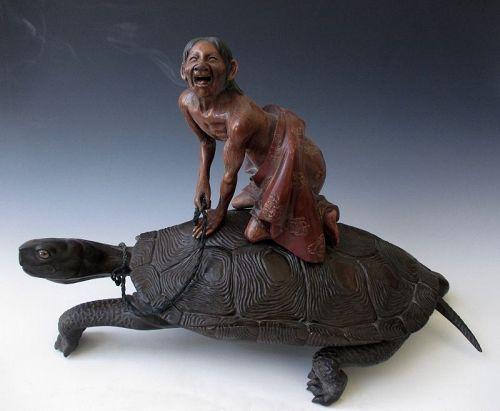 Japanese Antique Censor of Urashima Taro Riding the Giant Turtle