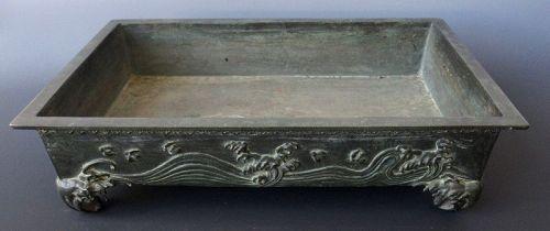 Antique Japanese Bronze Wave Suiban, Signed
