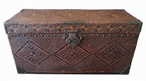 Chinese Antique Woven Rattan and Wood Trunk