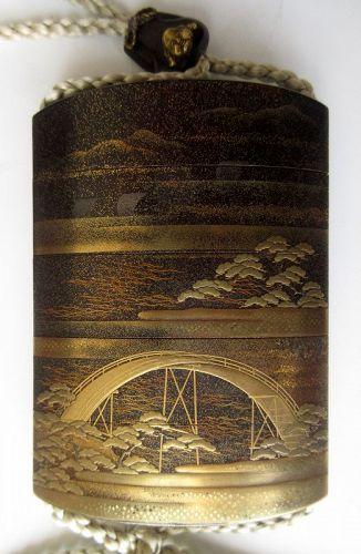 Japanese 19th c. Lacquer Inro Signed Hasegawa Shigeyoshi
