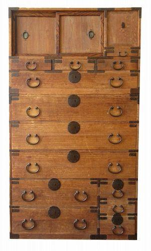 Antique Japanese 2 Section Isho Tansu