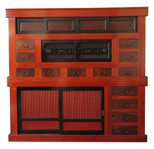 Antique Japanese Red Lacquer Kanazawa 6ft Mizuya - Japanese, Furniture From The Zentner Collection Of Antique Asian Art