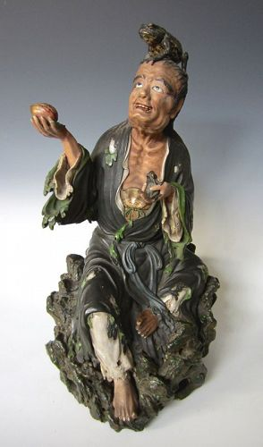 Japanese Studio Ware Figure of Gama Sennin with Toads