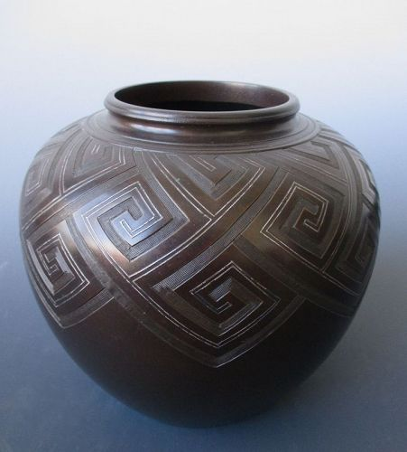 Japanese Art Deco Bronze and Silver Vase
