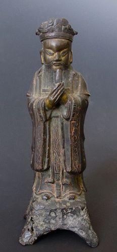 Ming Dynasty Taoist Figure in Bronze