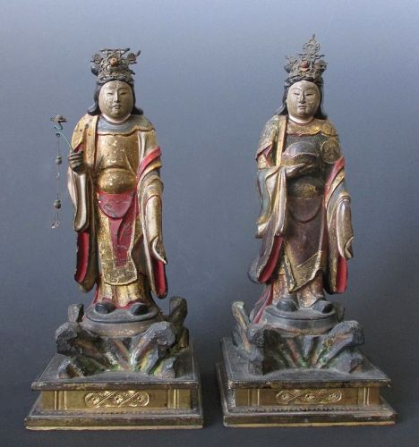Pair of Antique Japanese Buddhist Attendants