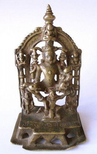Indian Jain Bronze Figure of Seated Shiva and Parvati