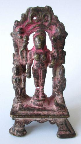 Indian Jain Bronze Standing Figure of Ambika