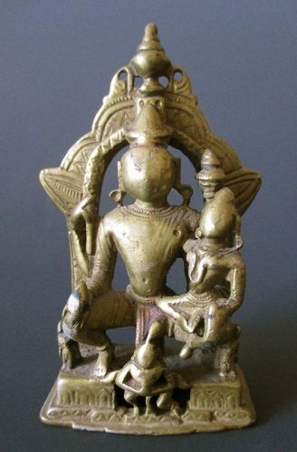 Small Indian Jain Bronze Figure of Vishnu and Lakshmi