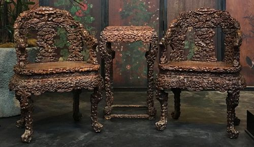 Chinese Pair of Huanghuali Chairs and Side Table