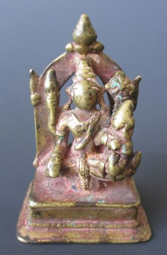 Small Indian Bronze Jain Figure of Vishnu and Lakshmi