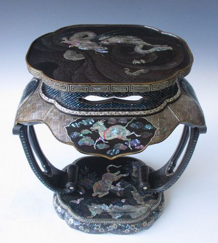 Japanese Meiji Period Lacquer and Inlaid Stand with Dragon and Tiger