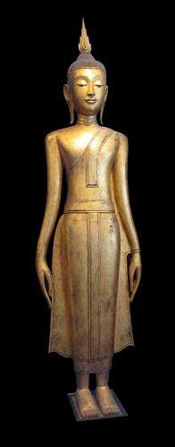 Tall Gilded Standing Buddha, Calling in the Rain, Laos