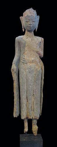 Burmese Standing Buddha with Hands in Mahakaruna Mudra