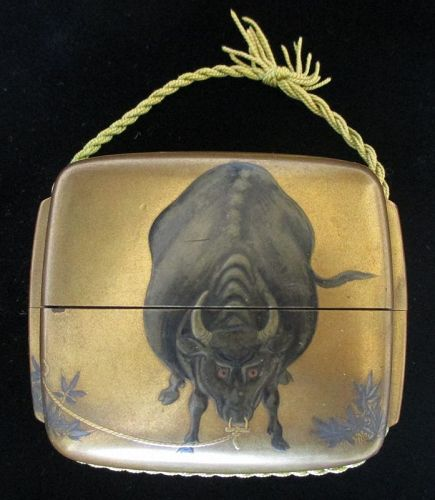 Japanese Gold lacquer Inro with Bull