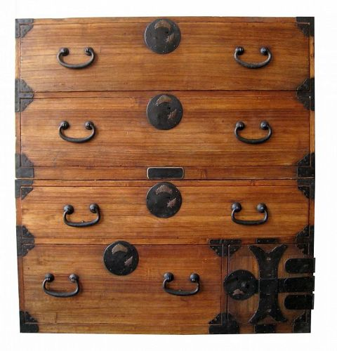 Antique Japanese 2S Kiri Tansu with Turtle Motif - Japanese, Furniture From The Zentner Collection Of Antique Asian Art