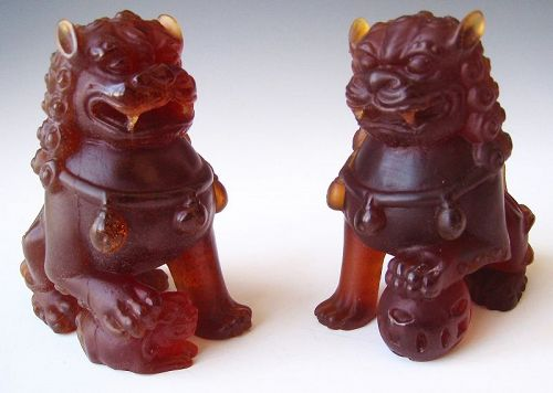 Pair of Amber Pate De Verre Fu Dogs
