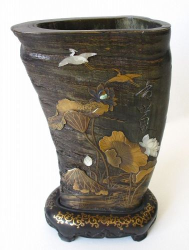 Japanese 19th Century Inlaid Horn Vase