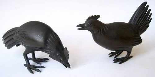 Japanese Pair of Bronze Chicken and Rooster Okimono