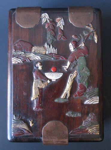 Chinese Hardwood Mirror Box with Inlay
