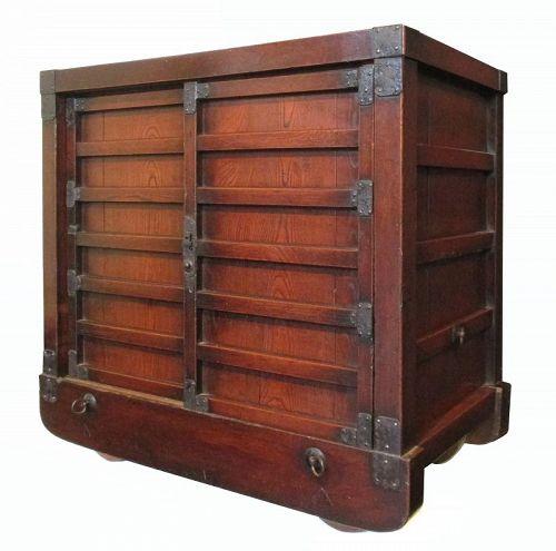 Rare Edo Period Japanese Solid Keyaki Wood Karuma Tansu