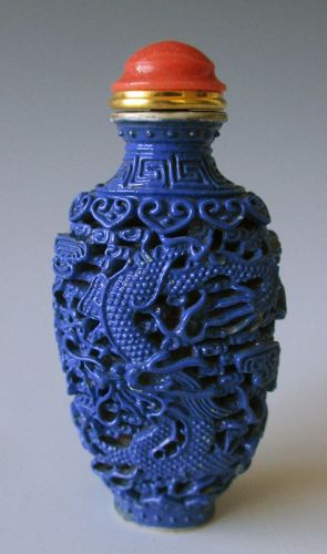 Chinese Cobalt Blue Porcelain Snuff Bottle with Dragon and Phoenix