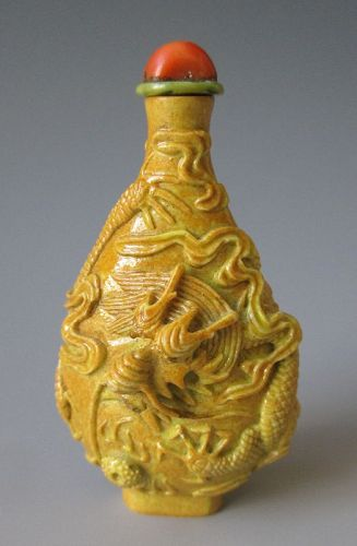 Chinese Antique Molded Porcelain Yellow Snuff Bottle with Dragon