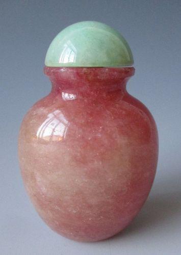Chinese Antique Rose Quartz Snuff Bottle
