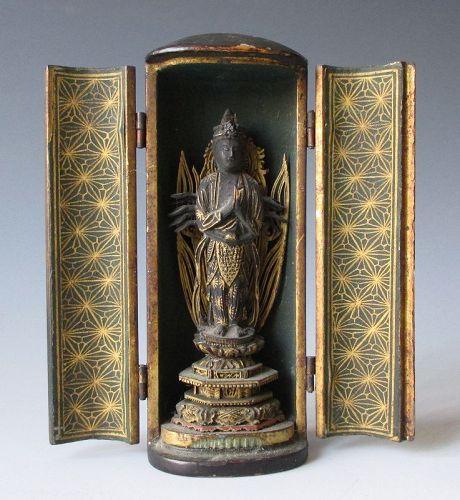 Japanese Small Antique Zushi with Bodhisattva