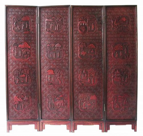 Chinese Antique Carved Cinnabar Lacquer Folding Screen