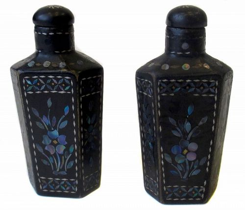 Chinese Pair of Lacquer Burgaute Inlay Snuff Bottles