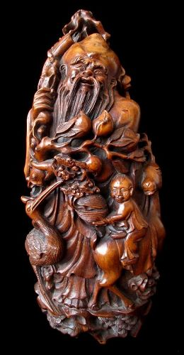 Chinese Bamboo Carving of Immortal Shoulao