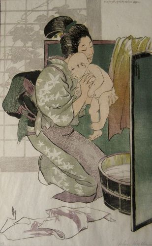 Japanese Woodblock Print The Bath by Helen Hyde