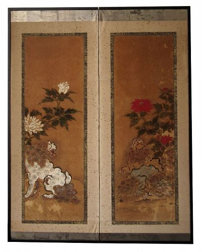 Antique Japanese 2 Panel Byobu Screen of Fu Dogs and Peonies