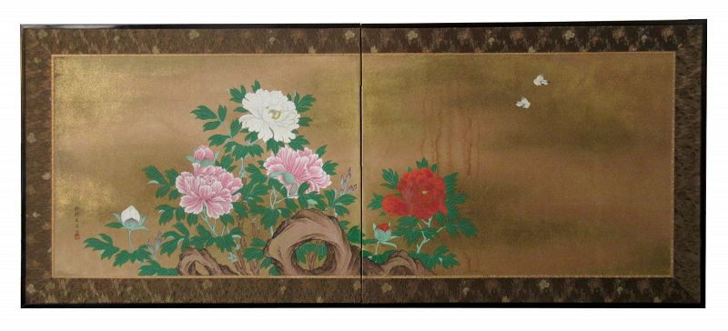 Antique Japanese 2 Panel Byobu Screen Peony and Butterflies