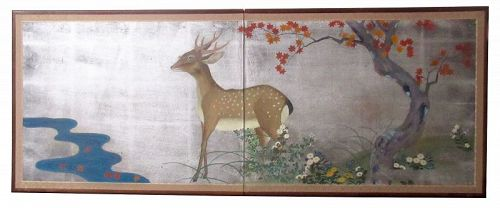 Japanese 2 Panel Byobu Silver Screen of Deer