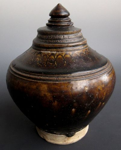 Antique Cambodian Brown Glaze Honey Container