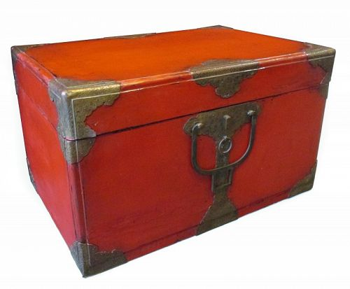 Japanese Antique Red Lacquer Trunk