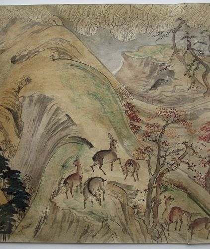 Japaese Antique Hand Scroll Painting,  Legends of Mount Shigi