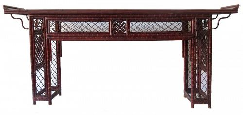 Antique Chinese Bamboo Altar Table