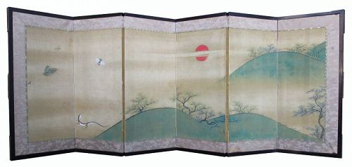 Japanese Small 6-panel Screen Painting with Lizard and Insects